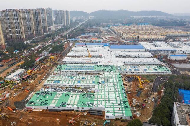 2020年2月、中国・武漢に完成した火神山医院(写真:ロイター/アフロ)