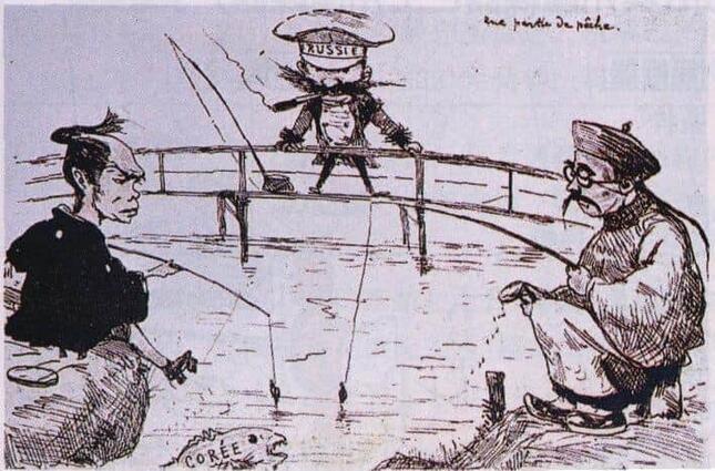 ジョルジュ・ビゴーによる当時の風刺画(1887年) 日本と中国(清)が互いに釣って捕らえようとしている魚(朝鮮)をロシアも狙っている。(パブリックドメイン)