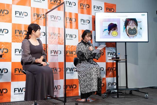 (左から)全国福祉理美容師養成協会(ふくりび)の事務局長・岩岡ひとみさんと、矢方さんによるトークセッションの様子