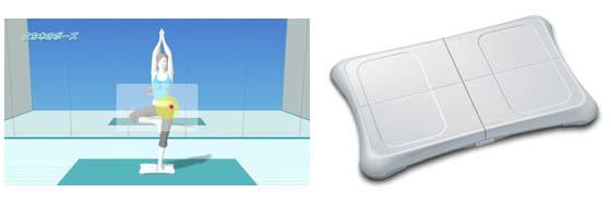 テレビ画面(写真左)を見ながら「バランスWiiボード」(右)に乗って、ヨガのポーズ!