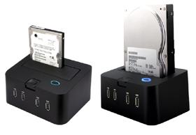 センチュリー「裸族のお立ち台Hubプラス」。2.5インチと3.5インチの2種類のハードディスクを差し込むことができる