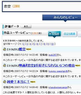 「Yahoo!映画」のユーザーレビューの平均点は2.13。ネットでの評価が低かった「ゲド戦記」(06年)の2.36を下回っている(07年12月12日現在)