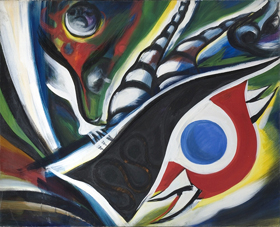 岡本太郎記念館、「怒り」の展示。写真は、『暴走』1963年 油彩