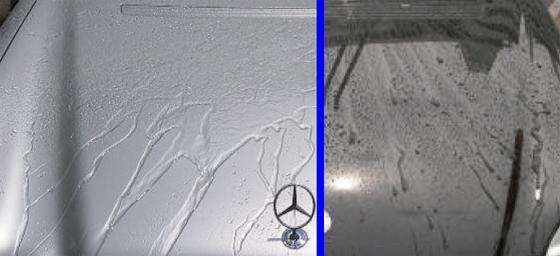 ヤナセ「ヤナセ ミラーフィニッシュ スーパー」 ミラーフィニッシュスーパー親水状態(左)とパールフィニッシュ超撥水状態(右)