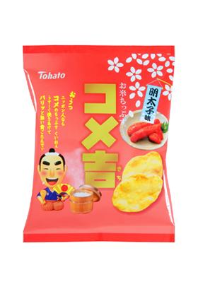 東ハト、お米チップス「コメ吉・明太子味」