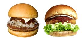 フレッシュネスバーガーの「ネギミソバーガー」(左)「チキンバーガー」(右)