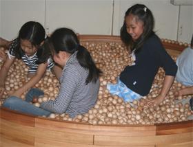 木の玉を敷き詰めた「ボールプール」。記者も入ってみたところ、足つぼを刺激されて気持ちよかった