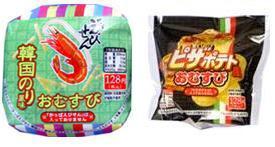 「かっぱえびせん 韓国のり風味おむすび」と「ピザポテト風おむすび」