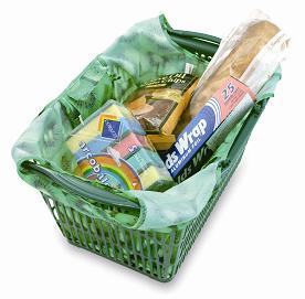 スーパープランニングが展開するブランド「ROOTOTE」のエコバッグ「ROO-shopper Grande」はカゴにつけることもできる