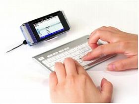 アイ・オー・データ機器が発売する携帯電話用ワイヤレスキーボード