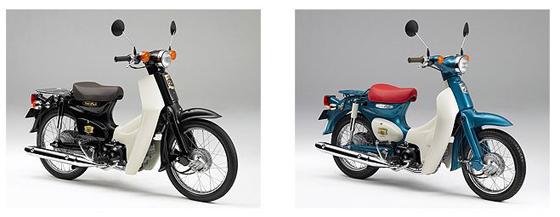 ホンダ「スーパーカブ50・50周年スペシャル」(左)と「リトルカブ・50周年スペシャル」(右)