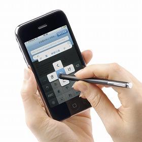 サンワサプライが売り出す「iPhone 3G」用タッチペン(使用イメージ)