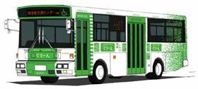 西鉄が運行する「福岡シティループバス『ぐりーん』」