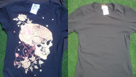Paul FrankのTシャツ(新品)は13ドル(左)ルイ・ヴィトンのTシャツ(古着)はなんと15ドル(右)。ラッキー!