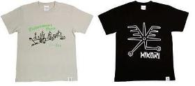 「COMPUTER VERY MUCH」は千葉県をモチーフにデザイン(左)。「光」という文字をデザインした山尾光平さんのTシャツ(右)