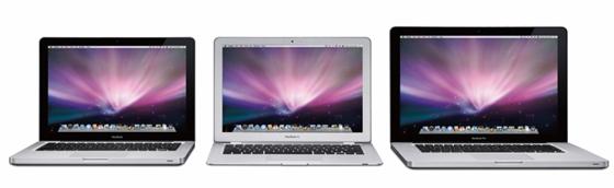 左から「MacBook」「MacBook Air」「MacBook Pro」