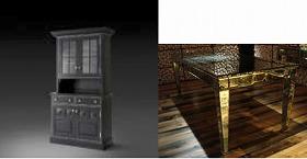 「Dark Side」(左)と「ミラーデコのダイニングテーブル ムーブルイタリ・type b」(右)