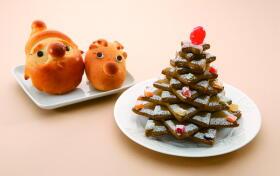 左から「ちょこっとサンタ」「おとぼけトナカイ」「抹茶のクリスマスツリー」