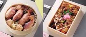 「いかすみ弁当黒めし」(左)と「たこめし」(右)