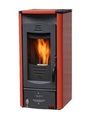 10段階の温風量設定、5段階の火力設定ができるイタリア製のペレットストーブ「エコサーモ」
