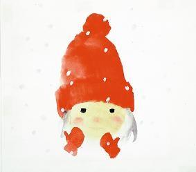 いわさきちひろ 赤い毛糸帽の女の子『ゆきのひのたんじょうび』より 1972年