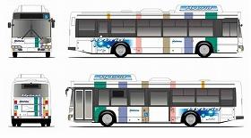 福岡市内に登場予定のハイブリッドバス(外観イメージ)
