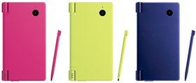 左から「ピンク」「ライムグリーン」「メタリックブルー」