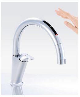 手をかざすだけの「タッチレス」で水が出たり止まったり