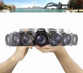 カメラを動かしながら連写した画像を元にパノラマ画像を合成できる