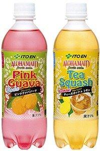 アロハメイドの「ピンクグァバソーダ」(左)と「ティースカッシュレモン」(右)