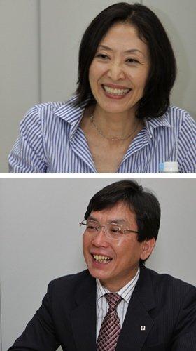 勉強会で講師を務めたタカノミチコさん(上)と吉野昇所長(下)