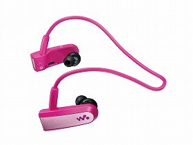 Player and earphones are combined in one piece in new design.  (Photo shows a pink-colored model)