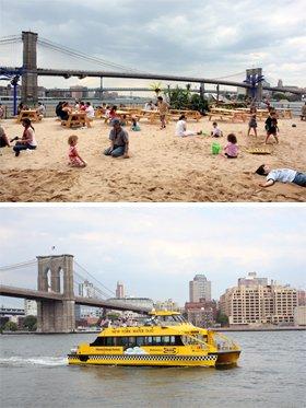 ビーチからは、ブルックリンブリッジが大迫力で見える(写真上)。 ウォータータクシーは、1日乗り放題が$20、片道$3.00から(写真下)