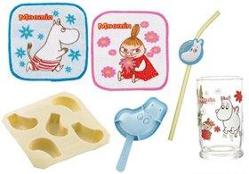左上から時計回りに「タオル地コースター(2枚組)」「チャームつきストロー」「キッズグラス」「アイスキャンディー型」「製氷トレイ」