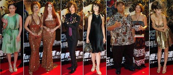 レッドカーペットに参加した著名人。左から加護あい、叶姉妹、DAIGO、乙黒えり、KONISHIKIと妻、ほしのあき