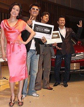 (左から)会見に登場した杉本彩さん、おちまさとさん、細川茂樹さん、須藤元気さん
