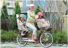 3人乗り(幼児2人同乗)の為に「専用」のチャイルドシートをオプションで用意