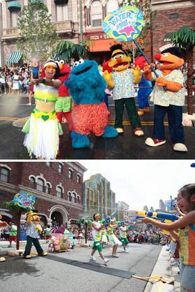 最高に盛り上がる「ウォーター・ストリート・パーティー」 (C) & (R) Universal Studios. All rights reserved. (C) 2009 Sesame Workshop.