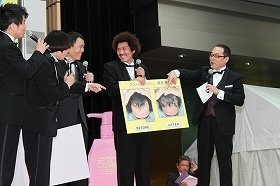 イベントを盛り上げた(左から)宮迫さん、蛍原さん、千原さん、藤田さん、山中アナ