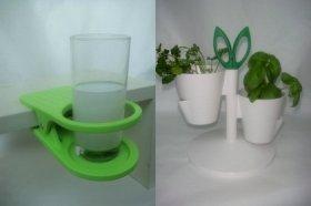クリップの形をした「Drinklip」のドリンクホルダー(写真左、2200円)、キッチンでハーブの栽培が出来る「ノーマン コペンハーゲン」のプランター(写真右、6090円)
