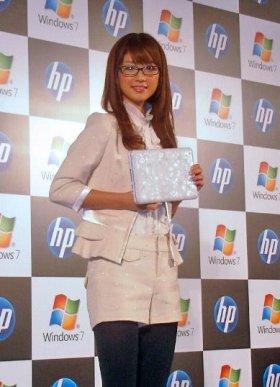 日本HP新製品発表会に小倉さんはイメチェンして出席した(10月6日、都内で)