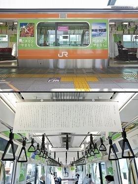 ビタミンやまなし号の外観(写真上)と林真理子さんのエッセイの掲出車両(写真下)