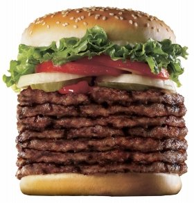 Almost 1 kilograms giant hamburger, Windows 7 Whopper.