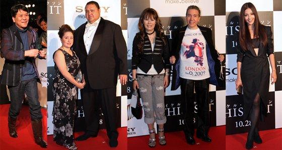 (左から)おすぎ、曙とクリスティーン麗子夫人、デーブ・スペクターと京子夫人、黒木メイサ