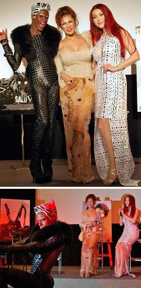 上:「ソウ6」PRイベントに参加した  じょんて☆もーにんぐ(左)と叶姉妹 下:「ソウ」が大好きだという叶姉妹に「ソウ」をイメージしたダンスを披露するじょんて☆もーにんぐ