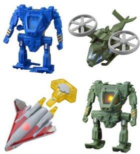 「アバター」に登場する(左上から時計回りに)パワーライダー ロボ、ツイントルネード ヘリ、ライトビーム ロボ、Vジェットシャトル