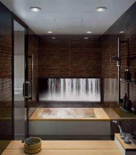 浴槽のバックパネルに千住博さんの絵をプリント