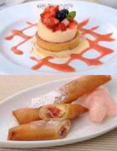 上:「紅ほっぺのケーキ」550円 下:「紅ほっぺ春巻」