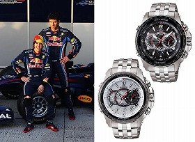 「Red Bull Racing team」(左)、新モデル「EQW-M710」(右)