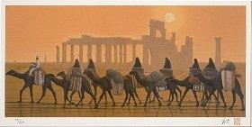 「パルミラ遺跡を行く 朝」